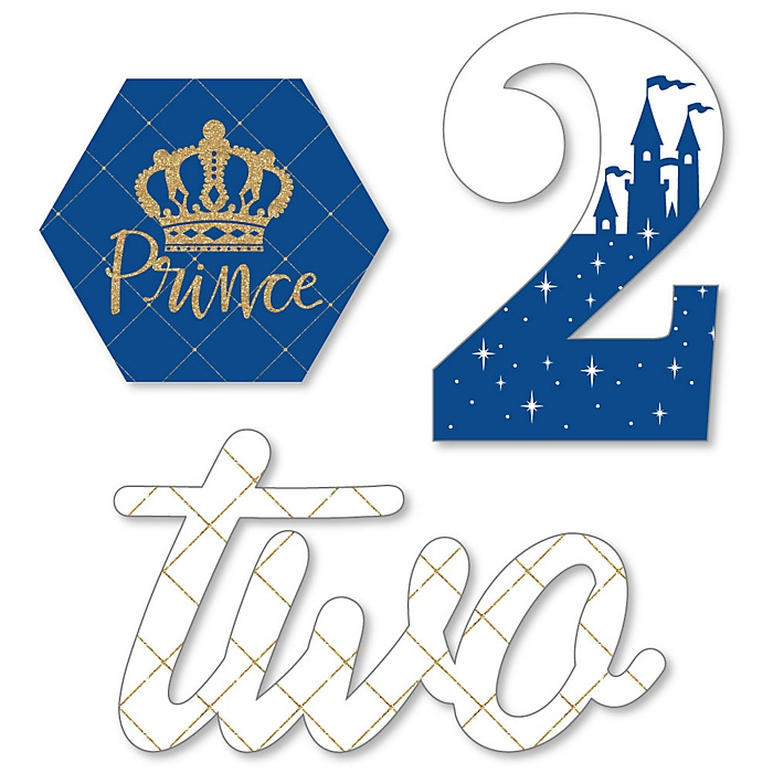 2nd Birthday Royal Prince Charming - DIY Shaped Second Birthday Party Cut-Outs - 24 ct