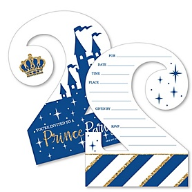 2nd Birthday Royal Prince Charming - Shaped Fill-In Invitations - Second Birthday Party Invitation Cards with Envelopes - Set of 12