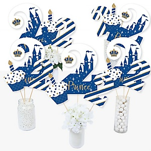 2nd Birthday Royal Prince Charming - Second Birthday Party Centerpiece Sticks - Table Toppers - Set of 15