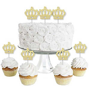 Gold Glitter Prince Crown - No-Mess Real Gold Glitter Dessert Cupcake Toppers - Royal Prince Charming Baby Shower or Birthday Party Clear Treat Picks - Set of 24
