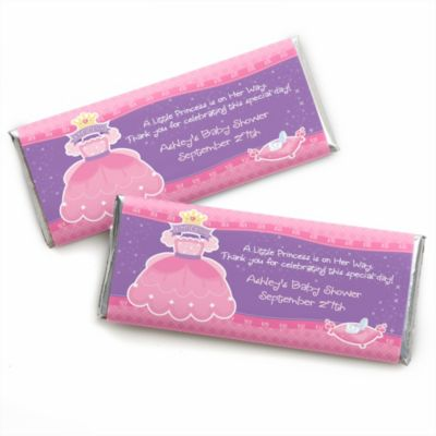 Pretty Princess   Personalized Baby Shower Candy Bar Wrapper Favors