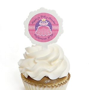 Pretty Princess - 12 Cupcake Picks & 24 Personalized Stickers - Baby Shower Cupcake Toppers