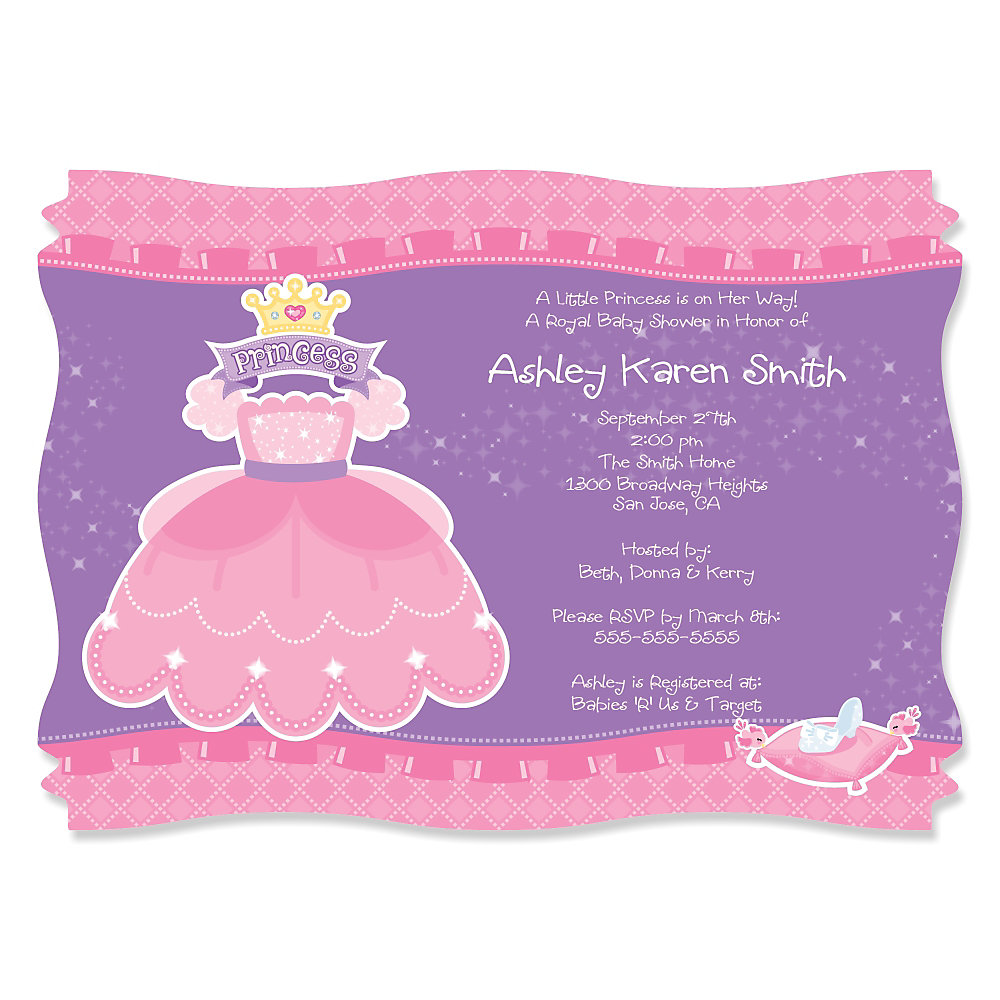 Pretty Princess - Personalized Baby Shower Invitations ...