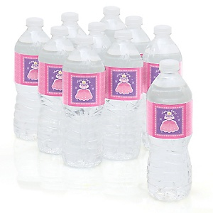 Pretty Princess - Personalized Party Water Bottle Sticker Labels - Set of 10