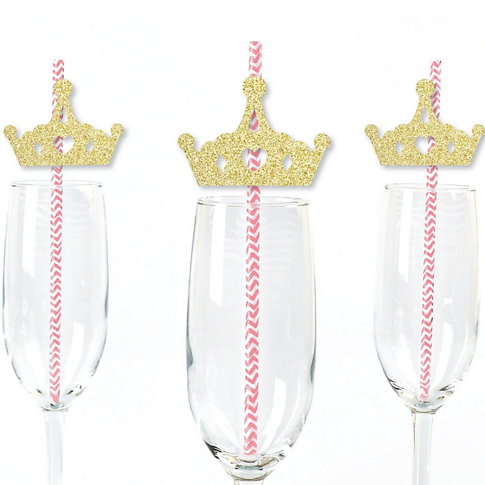Gold Glitter Princess Crown Party Straws - No-Mess Real Gold Glitter Cut-Outs and Decorative Pink and Gold Princess Baby Shower or Birthday Party Paper Straws - Set of 24