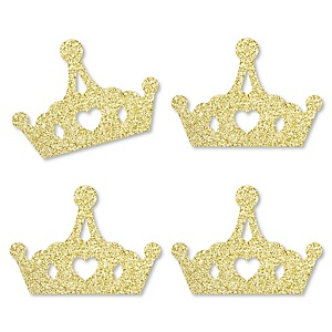 Gold Glitter Princess Crown - No-Mess Real Gold Glitter Cut-Outs - Pink and Gold Princess Baby Shower or Birthday Party Confetti - Set of 24