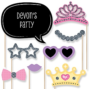 Pretty Princess - Baby Shower Photo Booth Props Kit - 20 Props