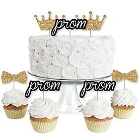 Prom - Dessert Cupcake Toppers - Prom Night Party Clear Treat Picks - Set of 24