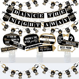 Prom - Banner and Photo Booth Decorations - Prom Night Party Supplies Kit - Doterrific Bundle