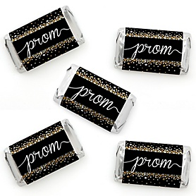 Prom - Mini Candy Bar Wrapper Stickers - Prom Night Party Small Favors - 40 Count