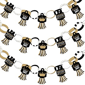 Prom - 90 Chain Links and 30 Paper Tassels Decoration Kit - Prom Night Party Paper Chains Garland - 21 feet