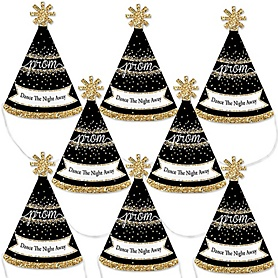 Prom - Mini Cone Prom Night Party Hats - Small Little Party Hats - Set of 8