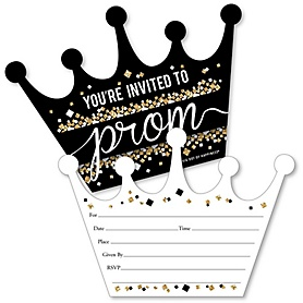 Prom - Shaped Fill-In Invitations - Prom Night Party Invitation Cards with Envelopes - Set of 12