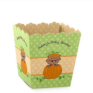 Little Pumpkin African American - Personalized Baby Shower Candy Boxes