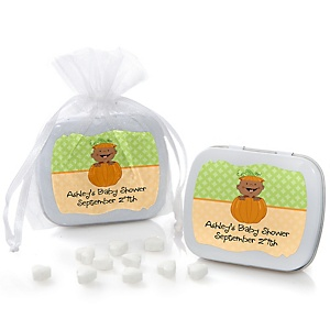 Little Pumpkin African American - Personalized Baby Shower Mint Tin Favors