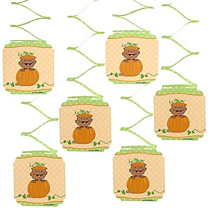 Little Pumpkin African American -Baby Shower Hanging Decorations - 6 ct
