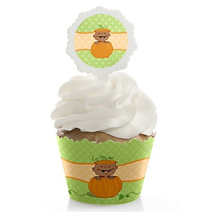 Little Pumpkin African American - Cupcake Wrapper & Pick Party Kit - Set of 24