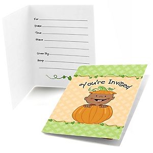 Little Pumpkin African American - Fill In Baby Shower Invitations - Set of  8