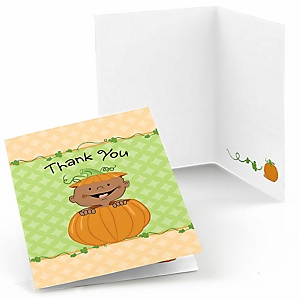 Little Pumpkin African American - Party Thank You Cards - 8 ct