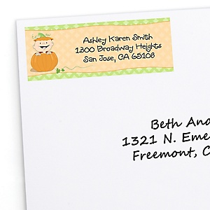 Little Pumpkin Caucasian - Personalized Baby Shower Return Address Labels - 30 ct