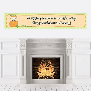 Little Pumpkin Caucasian - Personalized Baby Shower Banners