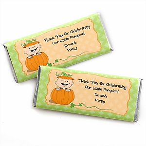 Little Pumpkin - Personalized Candy Bar Wrapper Fall Baby Shower or Birthday Party Favors - Set of 24