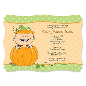 Little Pumpkin - Personalized Baby Shower Invitations - Set of 12