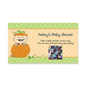 Little Pumpkin Caucasian - Personalized Baby Shower Game Scratch Off Cards - 22 ct