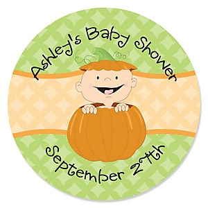 Little Pumpkin - Personalized Baby Shower Sticker Labels - 24 ct