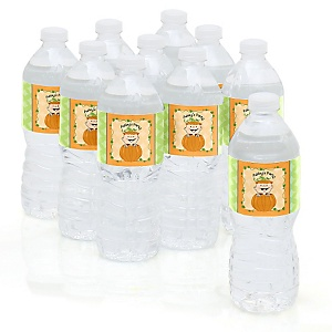 Little Pumpkin Caucasian - Personalized Party Water Bottle Sticker Labels - Set of 10