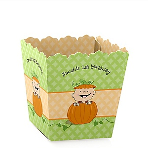 Little Pumpkin - Party Mini Favor Boxes - Personalized Birthday Party Treat Candy Boxes - Set of 12