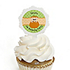 Little Pumpkin Caucasian - Personalized Birthday Party Cupcake Pick and Sticker Kit - 12 ct