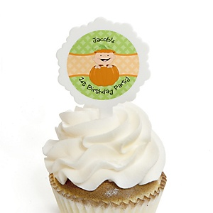 Little Pumpkin - Personalized Birthday Party Cupcake Pick and Sticker Kit - 12 ct