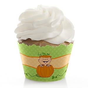 Little Pumpkin - Birthday Decorations - Party Cupcake Wrappers - Set of 12