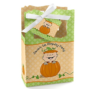 Little Pumpkin - Personalized Birthday Party Favor Boxes - Set of 12