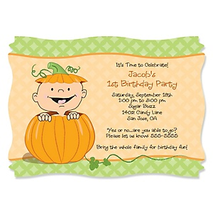 Little Pumpkin - Personalized Birthday Party Invitations - Set of 12