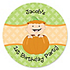 Little Pumpkin Caucasian - Personalized Birthday Party Sticker Labels - 24 ct
