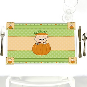 Little Pumpkin - Party Table Decorations - Fall Party Placemats - Set of 12