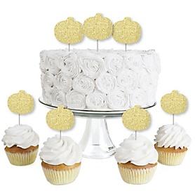 Gold Glitter Pumpkin - No-Mess Real Gold Glitter Dessert Cupcake Toppers - Fall & Halloween Party Clear Treat Picks - Set of 24
