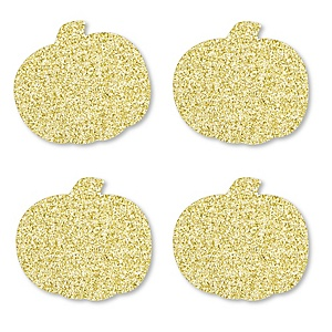 Gold Glitter Pumpkin - No-Mess Real Gold Glitter Cut-Outs - Fall & Thanksgiving Party Confetti - Set of 24