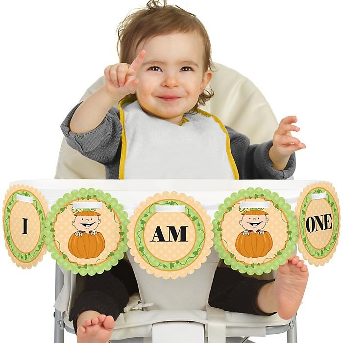 Little Pumpkin 1st Birthday - I am One - First Birthday High Chair Banner