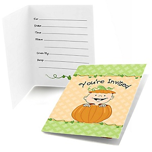 Little Pumpkin Caucasian - Fill In Baby Shower Invitations - Set of  8
