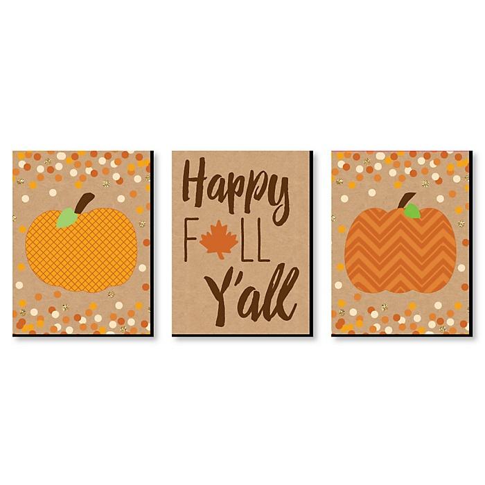 Pumpkin Patch - Autumn Wall Art & Fall Home Decor - 7.5 x 10 inches - Set of 3 Prints