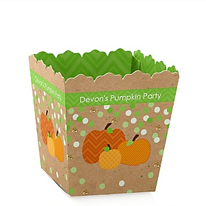 Pumpkin Patch - Party Mini Favor Boxes - Personalized Fall & Thanksgiving Party Treat Candy Boxes - Set of 12