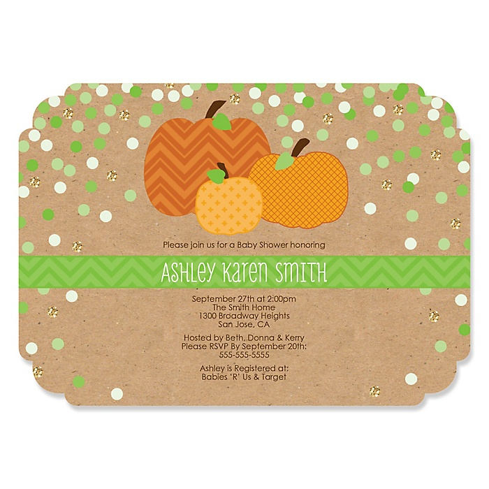 Pumpkin Patch - Personalized Fall & Thanksgiving Baby Shower Invitations - Set of 12
