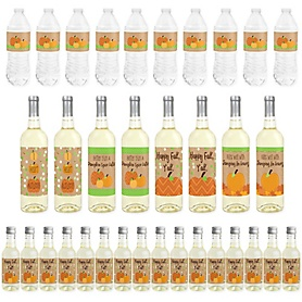 Pumpkin Patch - Mini Wine Bottle Labels, Wine Bottle Labels and Water Bottle Labels - Fall and Thanksgiving Party Decorations - Beverage Bar Kit - 34 Pieces