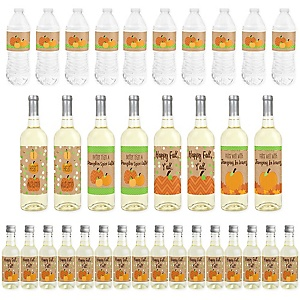 Pumpkin Patch - Mini Wine Bottle Labels, Wine Bottle Labels and Water Bottle Labels - Fall and Thanksgiving Party Decorations - Beverage Bar Kit - 34 Pieces