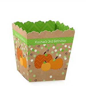 Pumpkin Patch - Party Mini Favor Boxes - Personalized Fall & Thanksgiving Birthday Party Treat Candy Boxes - Set of 12