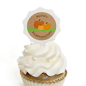 Pumpkin Patch - Personalized Fall & Thanksgiving Birthday Party Cupcake Pick and Sticker Kit - 12 ct