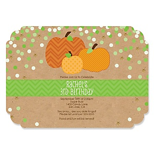 Pumpkin Patch - Personalized Fall & Thanksgiving Birthday Party Invitations - Set of 12